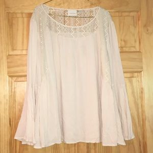Chico's Bell Sleeve, Lace Cut-Out Top, Sz 4, EUC